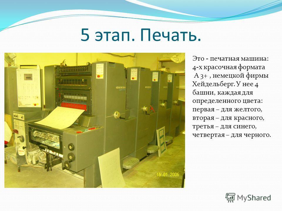 5 этап. Печать. Это - печатная машина: 4-х красочная формата A 3+, немецкой фирмы Хейдельберг. У нее 4 башни, каждая для определенного цвета: первая – для желтого, вторая – для красного, третья – для синего, четвертая – для черного.