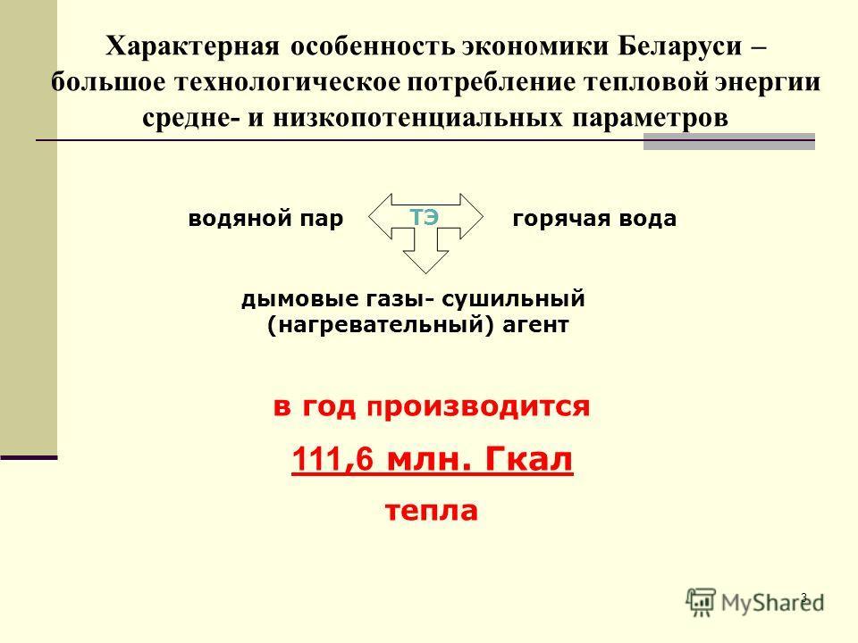 3 Характерная особенность экономики Беларуси – большое технологическое потребление тепловой энергии средне- и низкопотенциальных параметров ТЭ водяной паргорячая вода дымовые газы- сушильный (нагревательный) агент в год п роизводится 111, 6 млн. Гкал