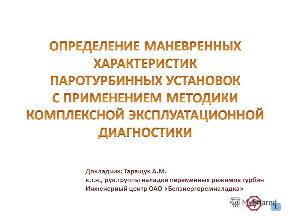 Докладчик: Таращук А.М. к.т.н., рук.группы наладки переменных режимов турбин Инженерный центр ОАО «Белэнергоремналадка» 1