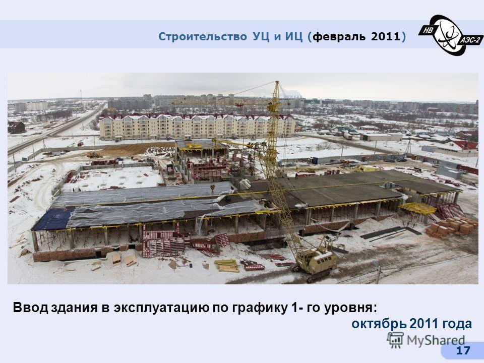 17 Строительство УЦ и ИЦ (февраль 2011) Ввод здания в эксплуатацию по графику 1- го уровня: октябрь 2011 года