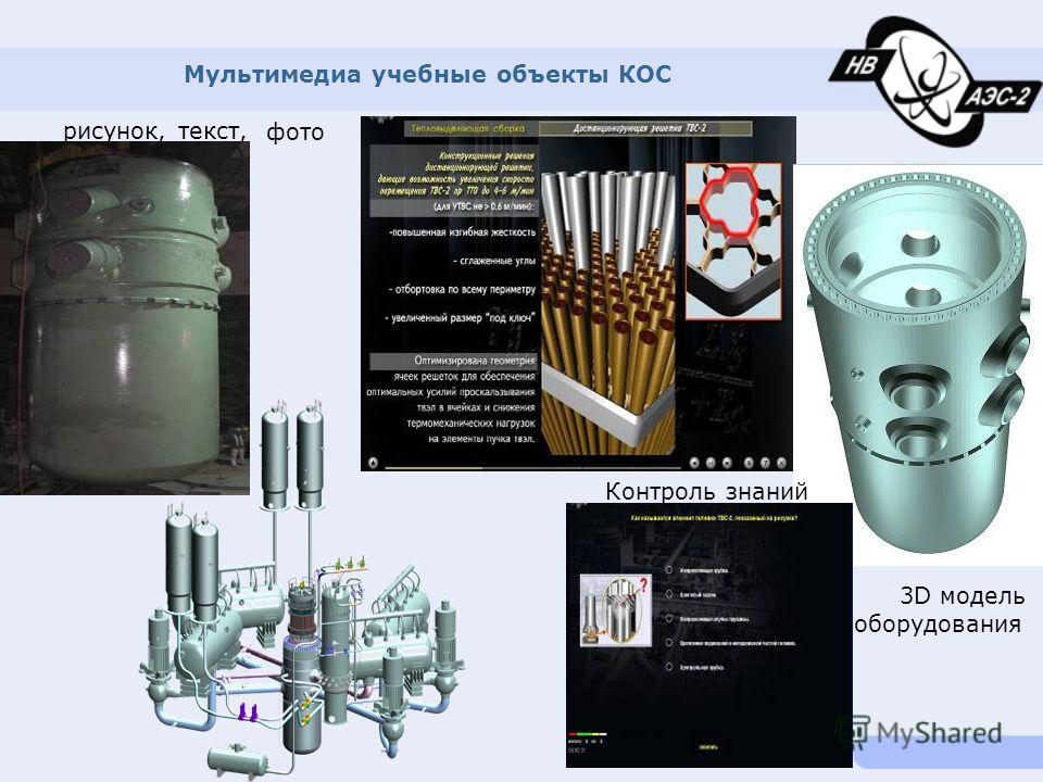 Мультимедиа учебные объекты КОС рисунок, текст, Контроль знаний 3D модель оборудования фото