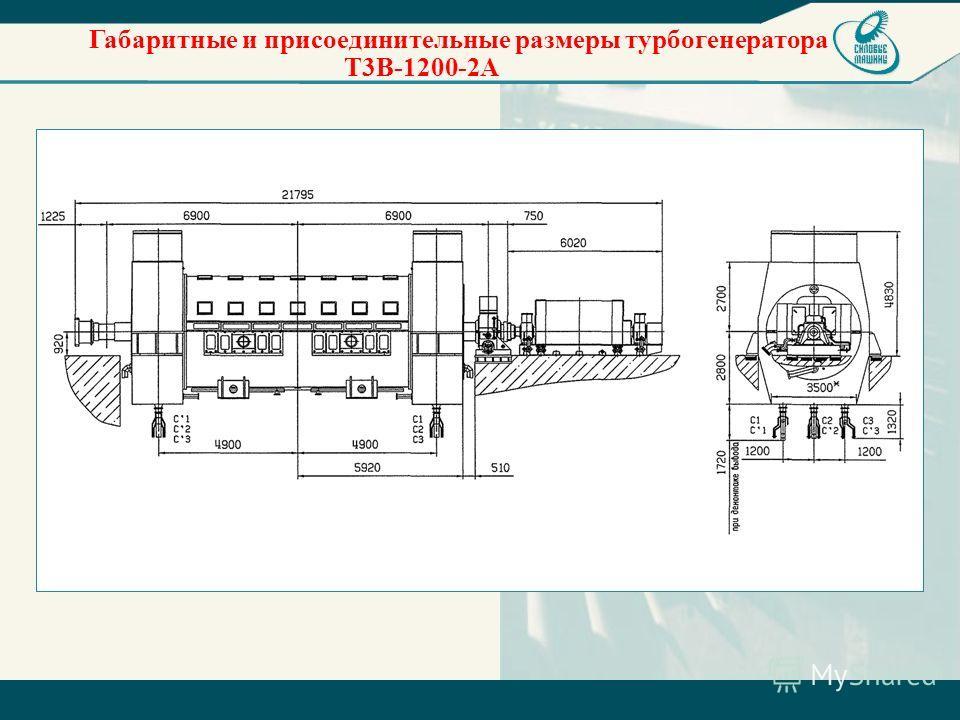 Габаритные и присоединительные размеры турбогенератора Т3В-1200-2А