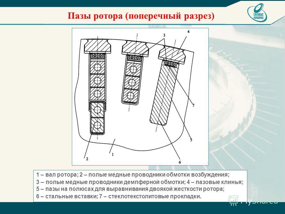 Пазы ротора (поперечный разрез) 1 – вал ротора; 2 – полые медные проводники обмотки возбуждения; 3 – полые медные проводники демпферной обмотки; 4 – пазовые клинья; 5 – пазы на полюсах для выравнивания двоякой жесткости ротора; 6 – стальные вставки;