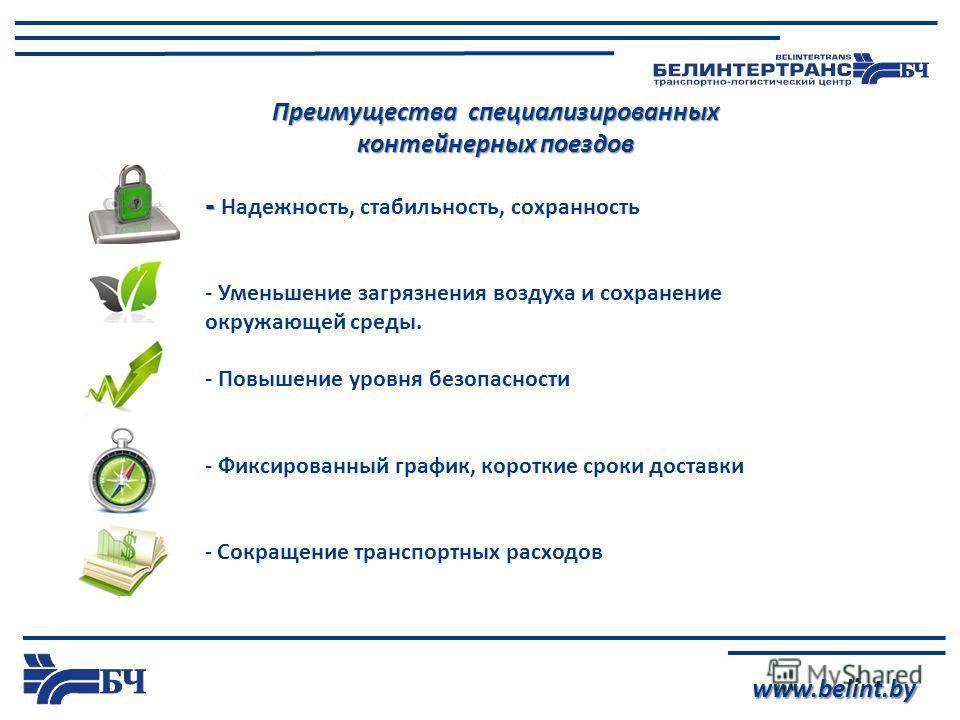 www.belint.by Преимущества специализированных контейнерных поездов - - Надежность, стабильность, сохранность - Уменьшение загрязнения воздуха и сохранение окружающей среды. - Повышение уровня безопасности - Фиксированный график, короткие сроки достав