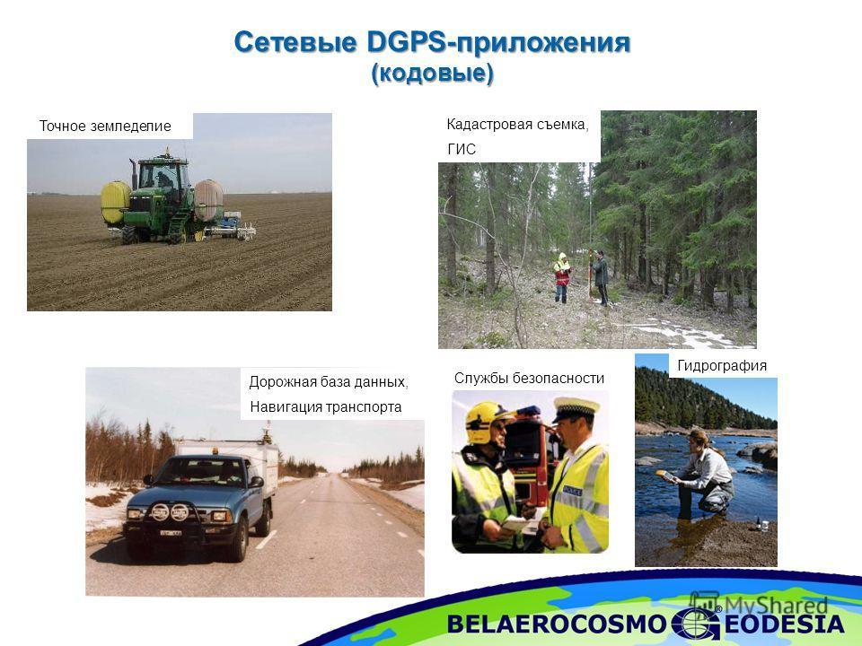 Сетевые DGPS-приложения (кодовые) Кадастровая съемка, ГИС Точное земледелие Дорожная база данных, Навигация транспорта Гидрография Службы безопасности
