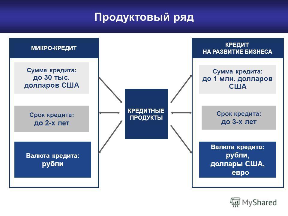 Продуктовый ряд Срок кредита: до 2-х лет Валюта кредита: рубли Сумма кредита: до 30 тыс. долларов США КРЕДИТНЫЕ ПРОДУКТЫ МИКРО-КРЕДИТ КРЕДИТ НА РАЗВИТИЕ БИЗНЕСА Сумма кредита: до 1 млн. долларов США Срок кредита: до 3-х лет Валюта кредита: рубли, дол