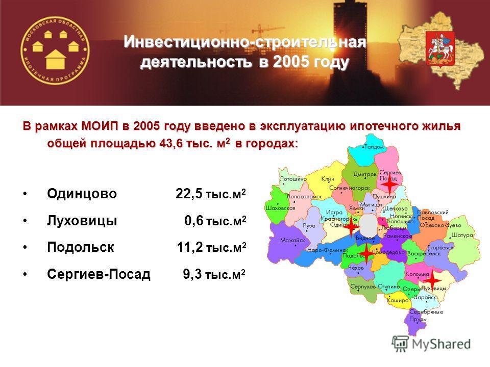 В рамках МОИП в 2005 году введено в эксплуатацию ипотечного жилья общей площадью 43,6 тыс. м 2 в городах: Одинцово 22,5 тыс.м 2 Луховицы 0,6 тыс.м 2 Подольск 11,2 тыс.м 2 Сергиев-Посад 9,3 тыс.м 2 Инвестиционно-строительная деятельность в 2005 году