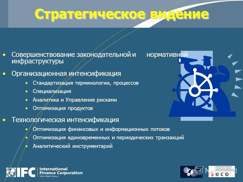 Стратегическое видение Совершенствование законодательной и нормативной инфраструктуры Организационная интенсификация Стандартизация терминологии, процессов Специализация Аналитика и Управление рисками Оптимизация продуктов Технологическая интенсифика