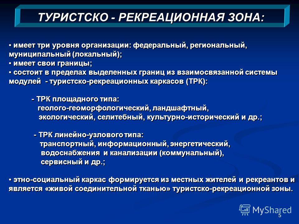 5 ТУРИСТСКО - РЕКРЕАЦИОННАЯ ЗОНА: имеет три уровня организации: федеральный, региональный, муниципальный (локальный); имеет три уровня организации: федеральный, региональный, муниципальный (локальный); имеет свои границы; имеет свои границы; состоит