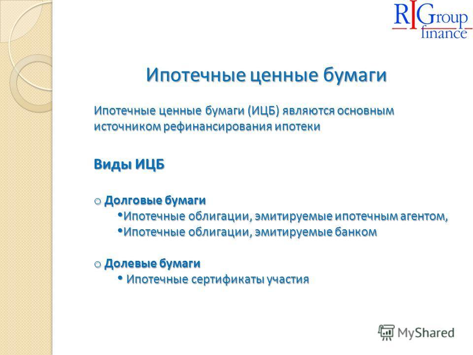 Ипотечные ценные бумаги Ипотечные ценные бумаги (ИЦБ) являются основным источником рефинансирования ипотеки Виды ИЦБ o Долговые бумаги Ипотечные облигации, эмитируемые ипотечным агентом, Ипотечные облигации, эмитируемые ипотечным агентом, Ипотечные о