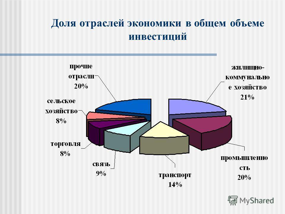 Доля отраслей экономики в общем объеме инвестиций