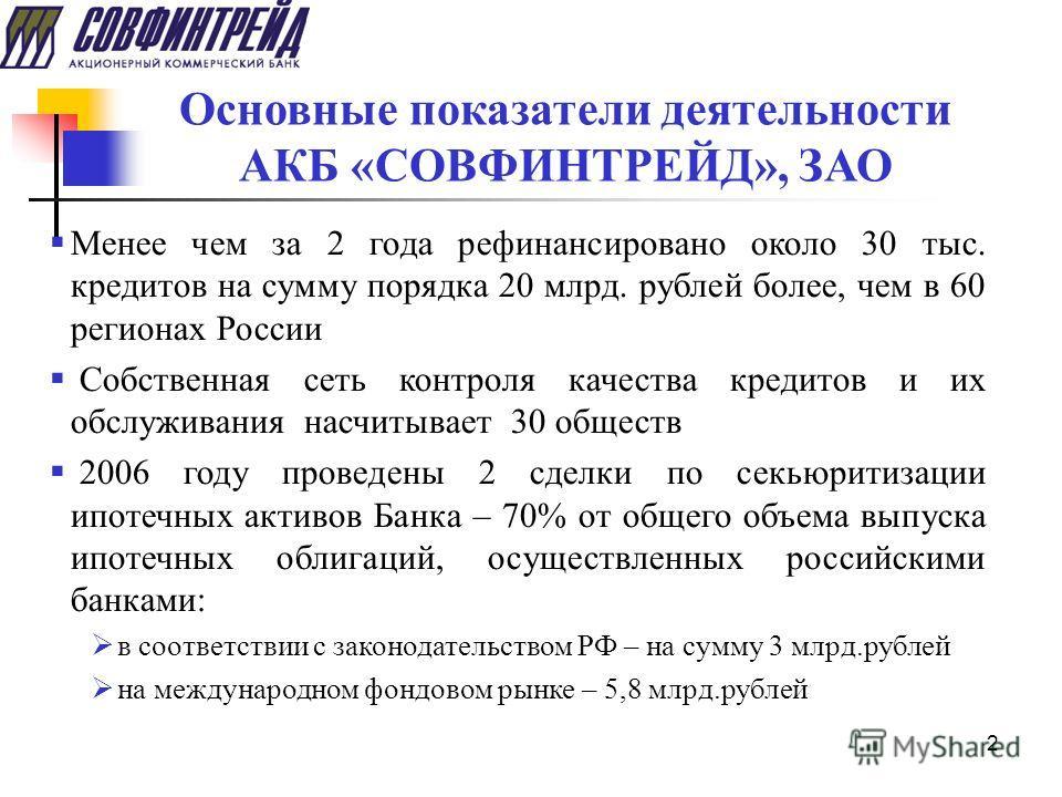 2 Основные показатели деятельности АКБ «СОВФИНТРЕЙД», ЗАО Менее чем за 2 года рефинансировано около 30 тыс. кредитов на сумму порядка 20 млрд. рублей более, чем в 60 регионах России Собственная сеть контроля качества кредитов и их обслуживания насчит
