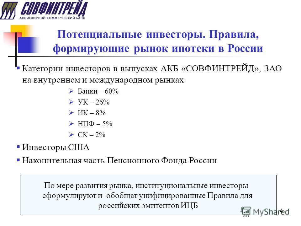 4 Потенциальные инвесторы. Правила, формирующие рынок ипотеки в России Категории инвесторов в выпусках АКБ «СОВФИНТРЕЙД», ЗАО на внутреннем и международном рынках Банки – 60% УК – 26% ИК – 8% НПФ – 5% СК – 2% Инвесторы США Накопительная часть Пенсион