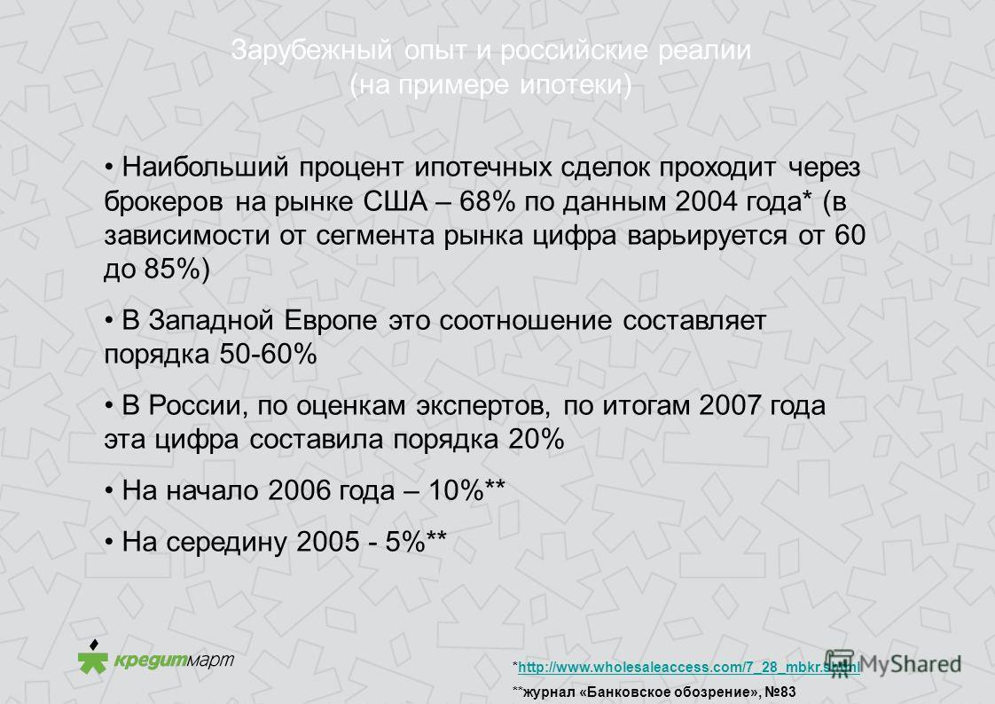 Зарубежный опыт и российские реалии (на примере ипотеки) Наибольший процент ипотечных сделок проходит через брокеров на рынке США – 68% по данным 2004 года* (в зависимости от сегмента рынка цифра варьируется от 60 до 85%) В Западной Европе это соотно