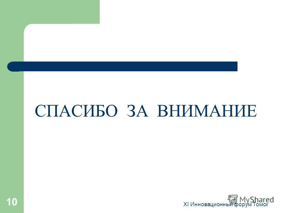 XI Инновационный форум Томск 10 СПАСИБО ЗА ВНИМАНИЕ
