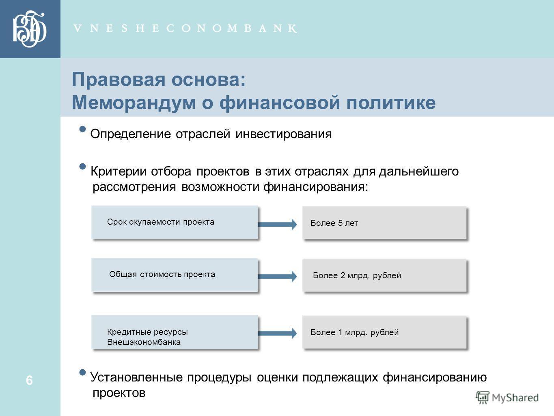6 6 Правовая основа: Меморандум о финансовой политике Определение отраслей инвестирования Критерии отбора проектов в этих отраслях для дальнейшего рассмотрения возможности финансирования: Установленные процедуры оценки подлежащих финансированию проек