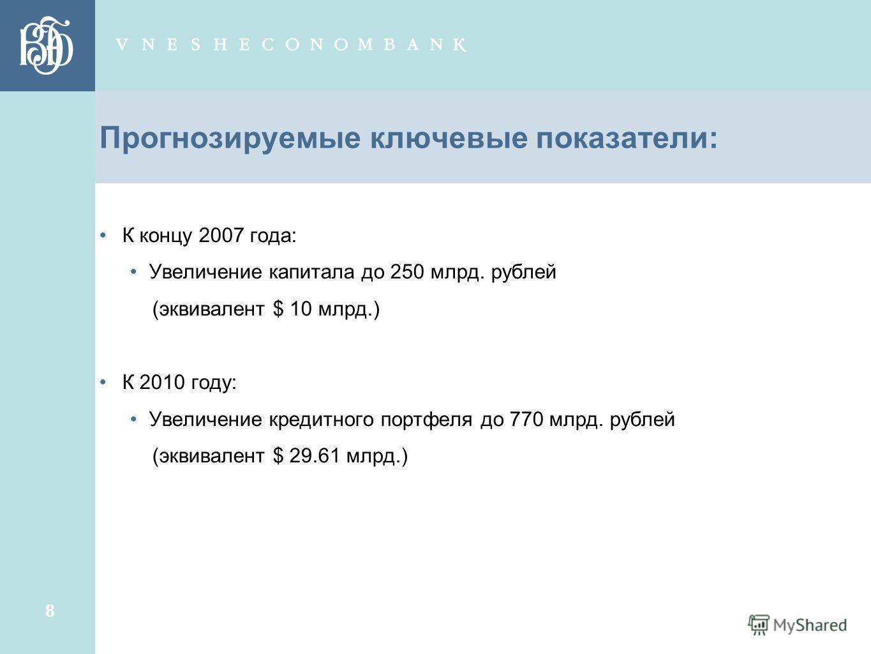 8 Прогнозируемые ключевые показатели: К концу 2007 года: Увеличение капитала до 250 млрд. рублей (эквивалент $ 10 млрд.) К 2010 году: Увеличение кредитного портфеля до 770 млрд. рублей (эквивалент $ 29.61 млрд.)