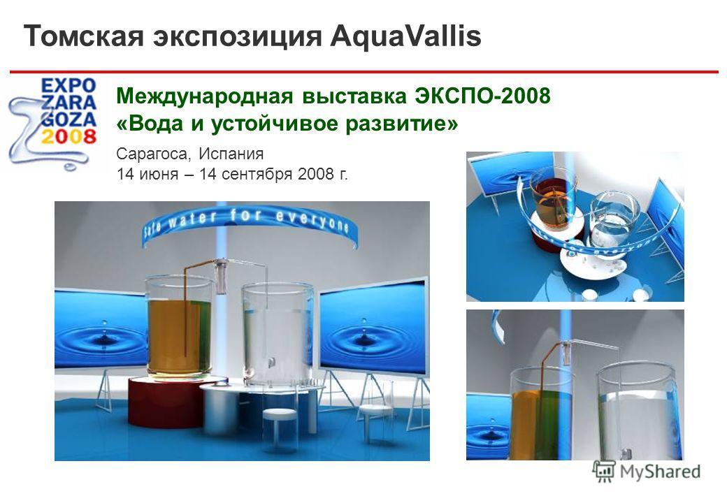 Томская экспозиция AquaVallis Международная выставка ЭКСПО-2008 «Вода и устойчивое развитие» Сарагоса, Испания 14 июня – 14 сентября 2008 г.