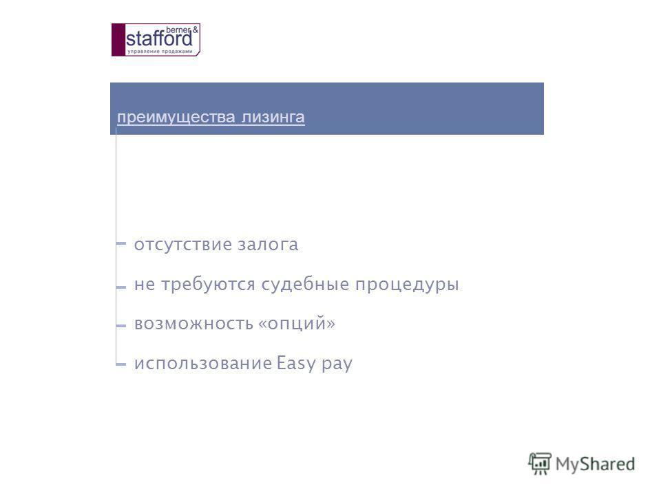 преимущества лизинга отсутствие залога не требуются судебные процедуры возможность «опций» использование Easy pay
