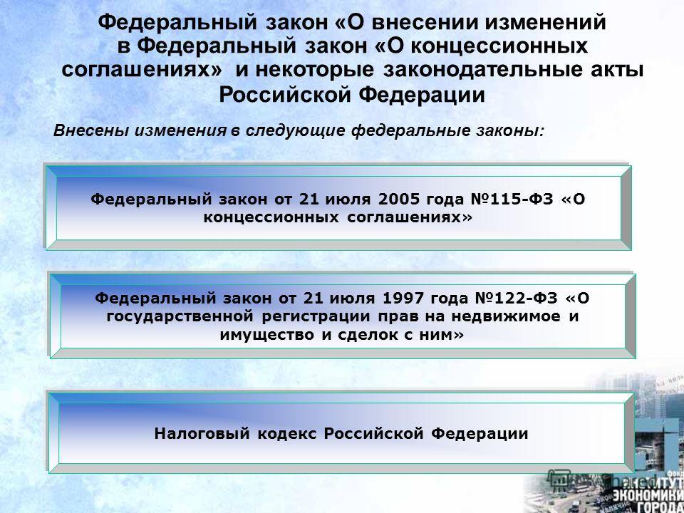 Федеральный закон «О внесении изменений в Федеральный закон «О концессионных соглашениях» и некоторые законодательные акты Российской Федерации Федеральный закон от 21 июля 2005 года 115-ФЗ «О концессионных соглашениях» Внесены изменения в следующие