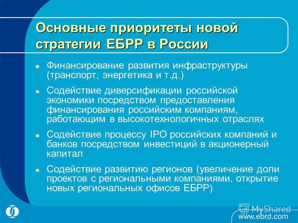 Основные приоритеты новой стратегии ЕБРР в России Финансирование развития инфраструктуры (транспорт, энергетика и т.д.) Содействие диверсификации российской экономики посредством предоставления финансирования российским компаниям, работающим в высоко