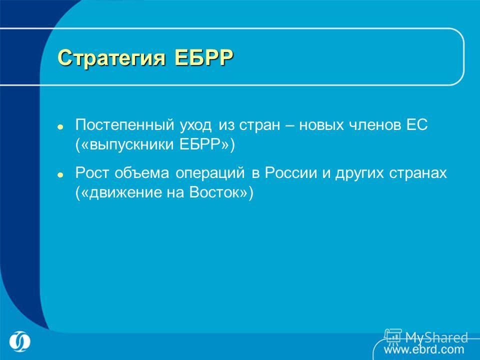 Стратегия ЕБРР Постепенный уход из стран – новых членов ЕС («выпускники ЕБРР») Рост объема операций в России и других странах («движение на Восток»)