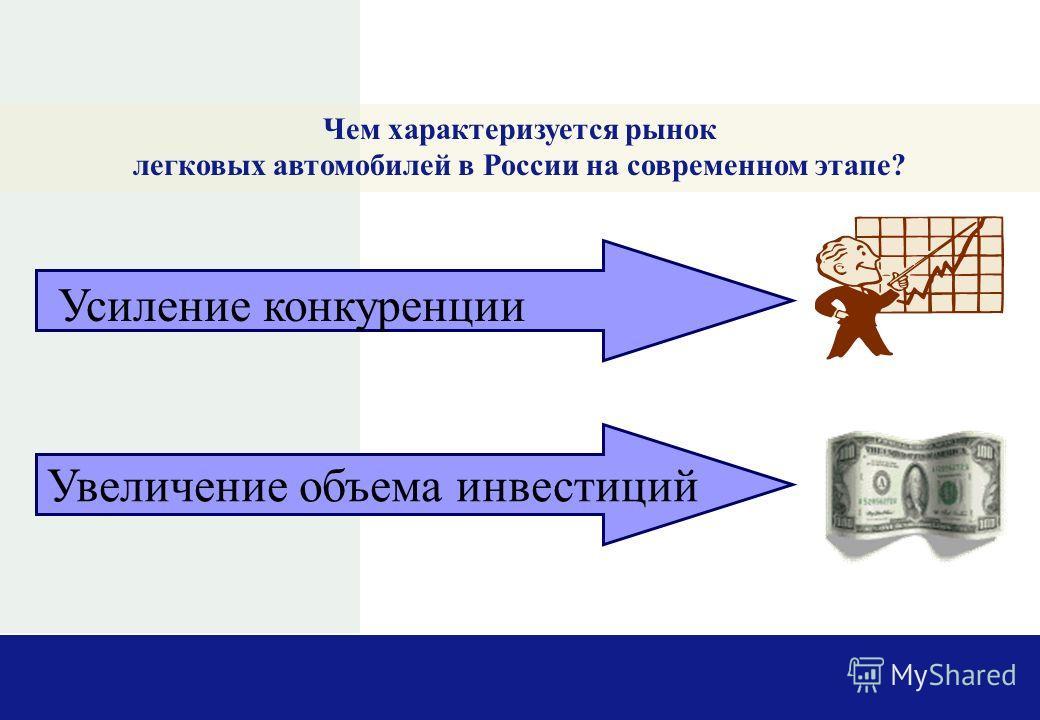 Чем характеризуется рынок легковых автомобилей в России на современном этапе? Усиление конкуренции Увеличение объема инвестиций