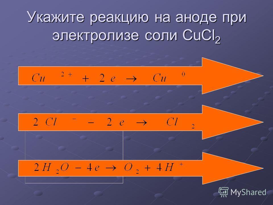 Укажите реакцию на аноде при электролизе соли CuCl 2