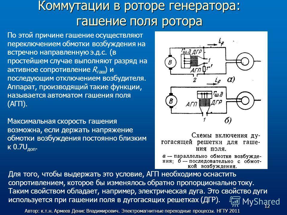 Коммутации в роторе генератора: гашение поля ротора По этой причине гашение осуществляют переключением обмотки возбуждения на встречно направленную э.д.с. (в простейшем случае выполняют разряд на активное сопротивление R гаш ) и последующим отключени