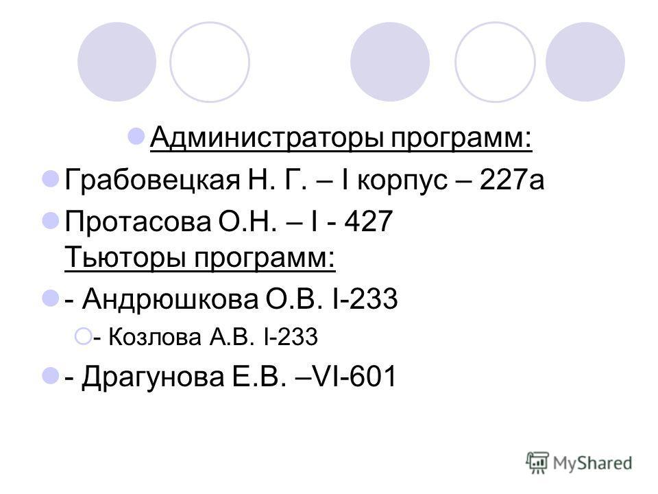 Администраторы программ: Грабовецкая Н. Г. – I корпус – 227а Протасова О.Н. – I - 427 Тьюторы программ: - Андрюшкова О.В. I-233 - Козлова А.В. I-233 - Драгунова Е.В. –VI-601