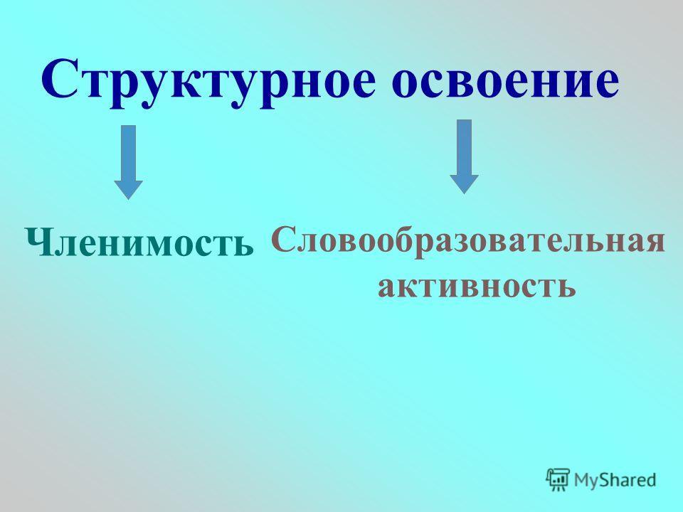 Структурное освоение Членимость Словообразовательная активность