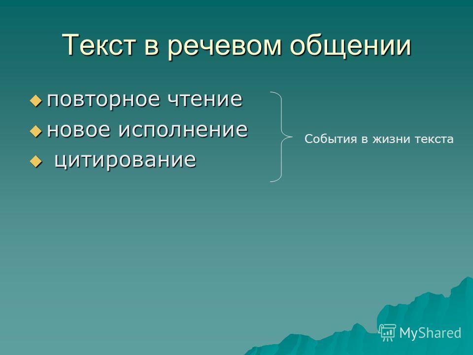 Текст в речевом общении повторное чтение повторное чтение новое исполнение новое исполнение цитирование цитирование События в жизни текста
