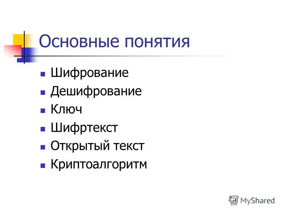 Основные понятия Шифрование Дешифрование Ключ Шифртекст Открытый текст Криптоалгоритм