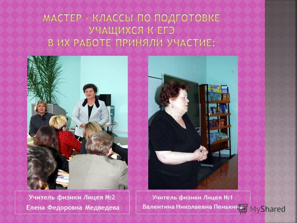 Учитель физики Лицея 2 Елена Федоровна Медведева Учитель физики Лицея 1 Валентина Николаевна Пенькина