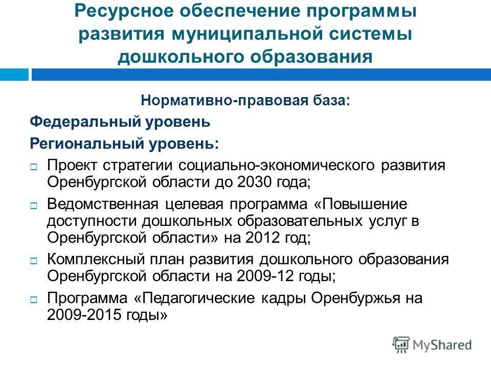 Ресурсное обеспечение программы развития муниципальной системы дошкольного образования Нормативно-правовая база: Федеральный уровень Региональный уровень: Проект стратегии социально-экономического развития Оренбургской области до 2030 года; Ведомстве