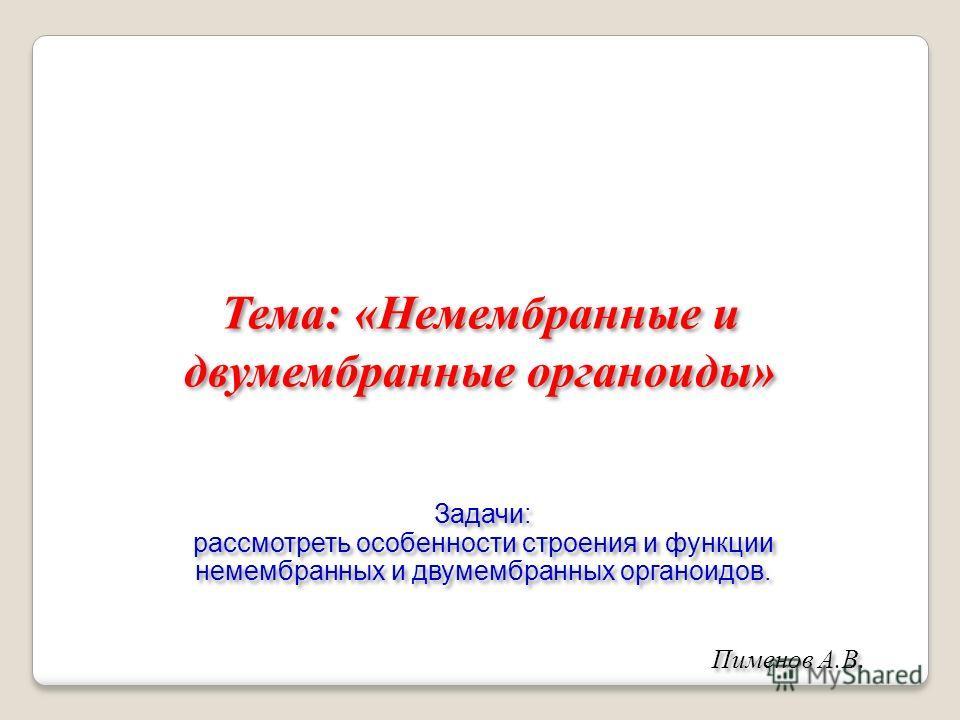 Тема: «Немембранные и двумембранные органоиды» Пименов А.В. Задачи: рассмотреть особенности строения и функции немембранных и двумембранных органоидов. Задачи: рассмотреть особенности строения и функции немембранных и двумембранных органоидов.