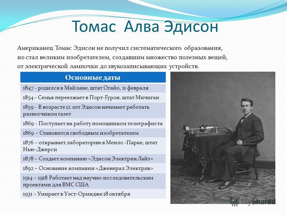 Томас Алва Эдисон Американец Томас Эдисон не получил систематического образования, но стал великим изобретателем, создавшим множество полезных вещей, от электрической лампочки до звукозаписывающих устройств. Основные даты 1847 - родился в Майлане, шт