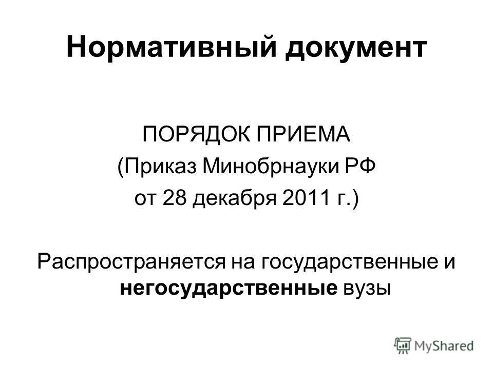 Нормативный документ ПОРЯДОК ПРИЕМА (Приказ Минобрнауки РФ от 28 декабря 2011 г.) Распространяется на государственные и негосударственные вузы