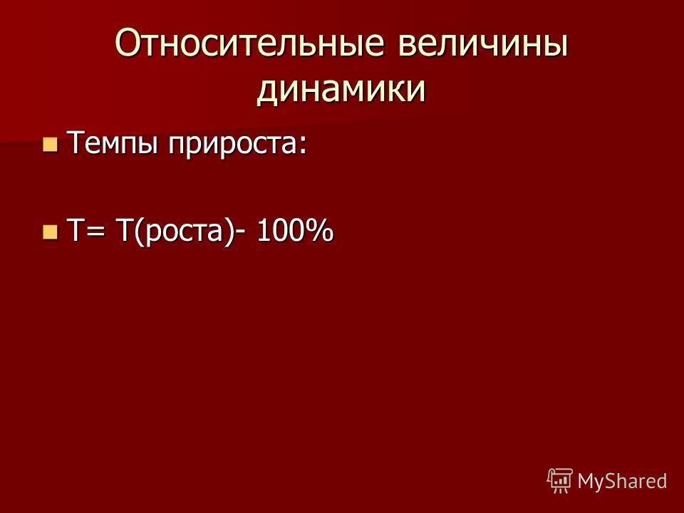 Относительные величины динамики Темпы прироста: Темпы прироста: Т= Т(роста)- 100% Т= Т(роста)- 100%