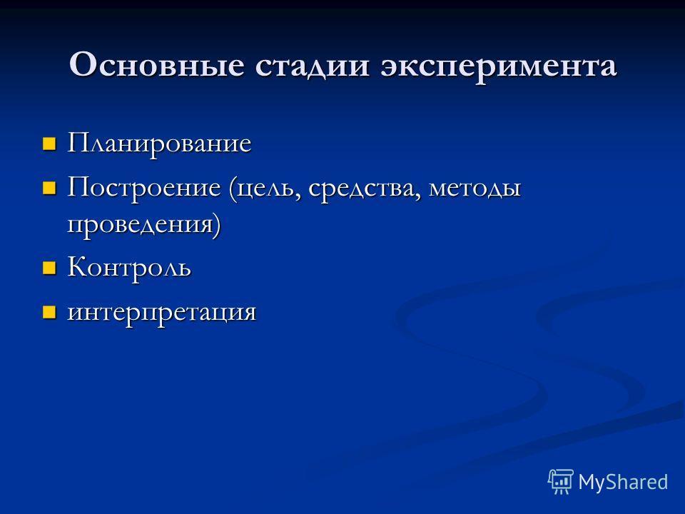 Основные стадии эксперимента Планирование Планирование Построение (цель, средства, методы проведения) Построение (цель, средства, методы проведения) Контроль Контроль интерпретация интерпретация