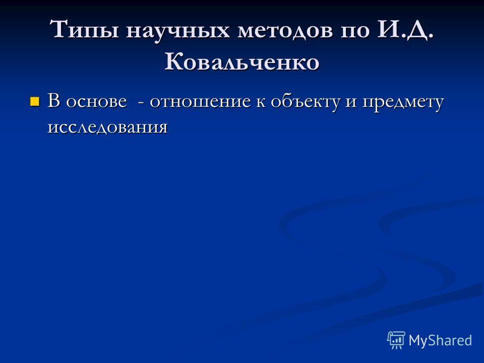 Типы научных методов по И.Д. Ковальченко В основе - отношение к объекту и предмету исследования В основе - отношение к объекту и предмету исследования