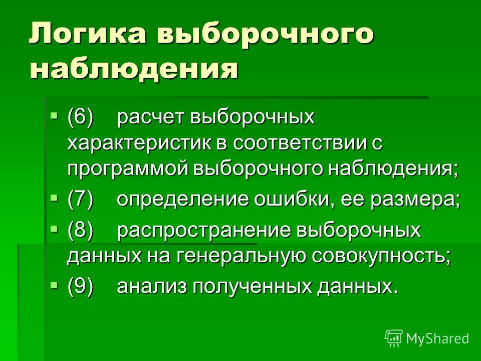 Логика выборочного наблюдения (6) расчет выборочных характеристик в соответствии с программой выборочного наблюдения; (6) расчет выборочных характеристик в соответствии с программой выборочного наблюдения; (7) определение ошибки, ее размера; (7) опре