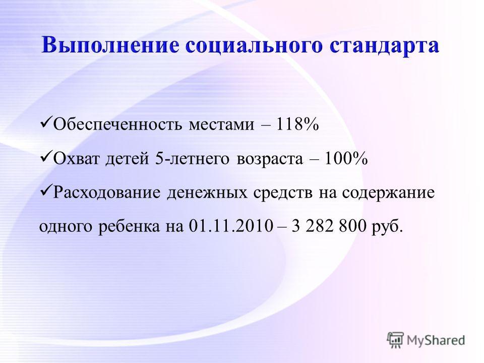 Обеспеченность местами – 118% Охват детей 5-летнего возраста – 100% Расходование денежных средств на содержание одного ребенка на 01.11.2010 – 3 282 800 руб.