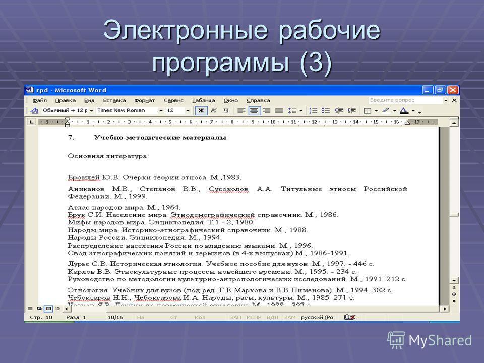 Электронные рабочие программы (3)