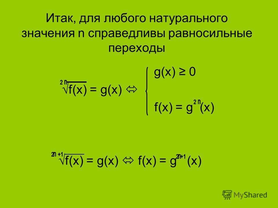 Итак, для любого натурального значения n справедливы равносильные переходы g(x) 0 f(x) = g(x) f(x) = g(x) f(x) = g (x)