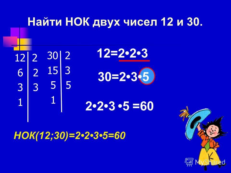 Найти НОК двух чисел 12 и 30. 12 2 6 2 3 3 1 30 2 15 3 5 5 1 12=223 НОК(12;30)=2235=60 30=235 2235=60