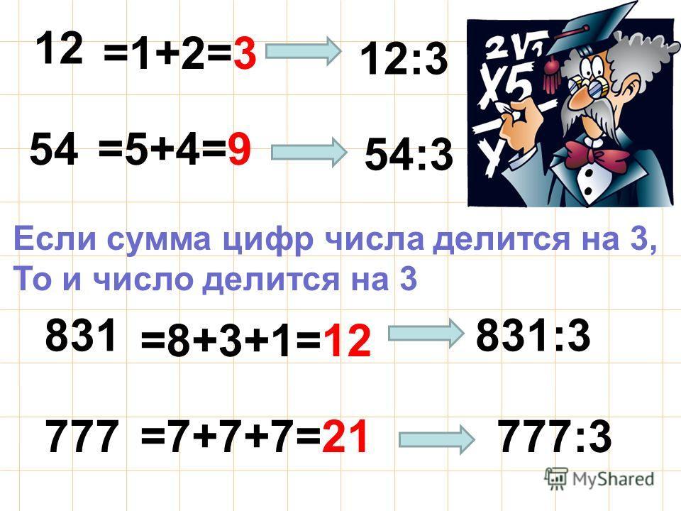 12 54 831 777 =1+2=3 =5+4=9 =8+3+1=12 =7+7+7=21 Если сумма цифр числа делится на 3, То и число делится на 3 12:3 777:3 54:3 831:3