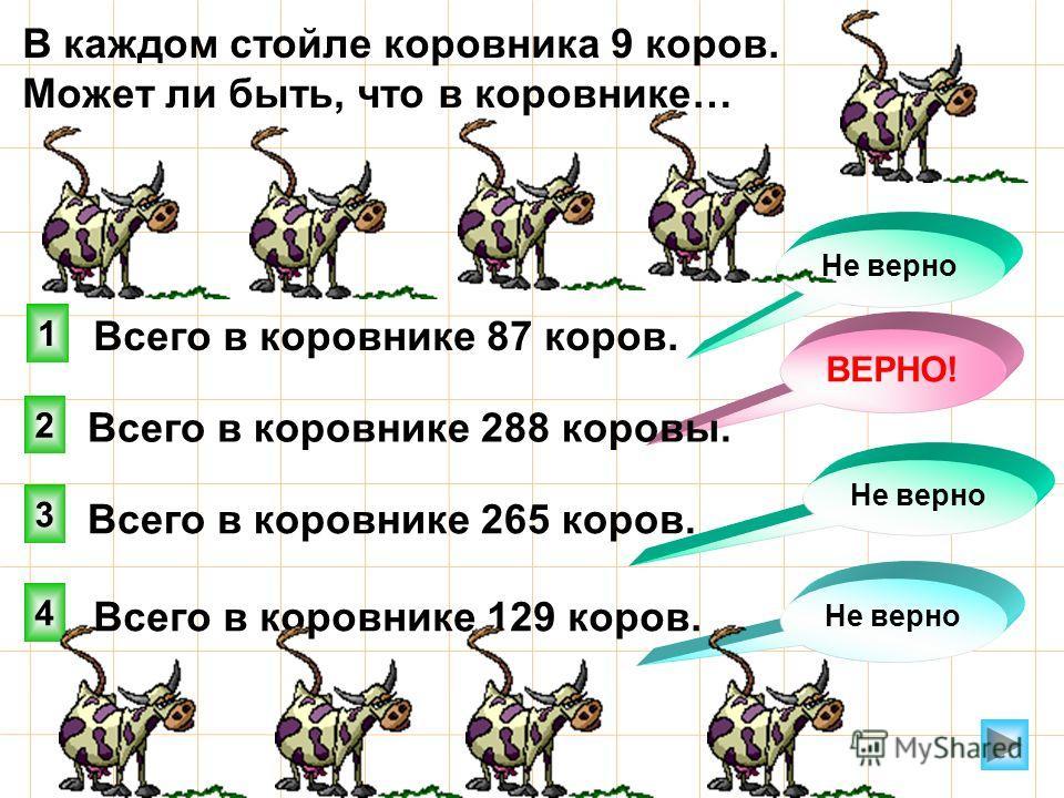 В каждом стойле коровника 9 коров. Может ли быть, что в коровнике… 4 1 2 3 Не верно Всего в коровнике 87 коров. ВЕРНО! Не верно Всего в коровнике 288 коровы. Всего в коровнике 265 коров. Всего в коровнике 129 коров.