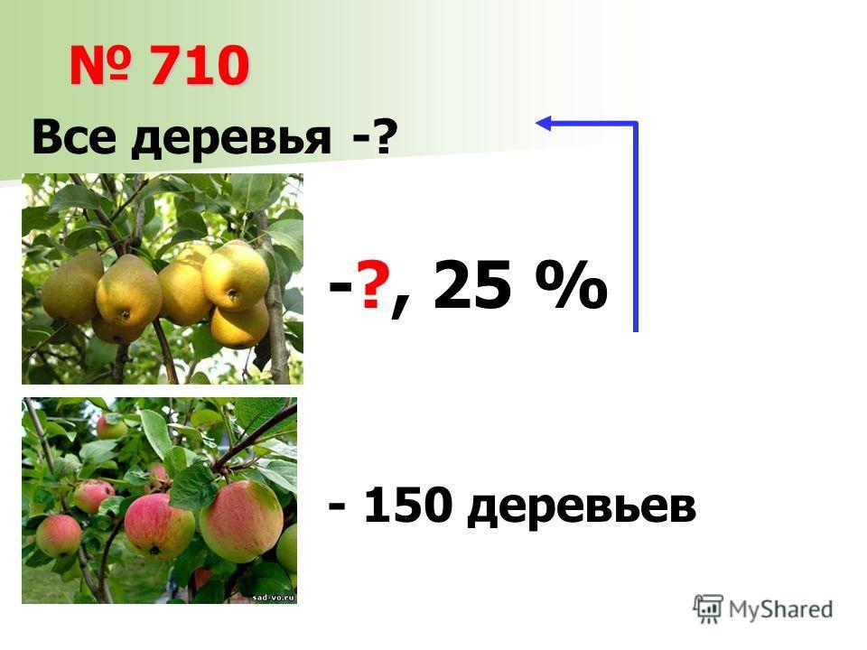 710 710 -?, 25 % Все деревья -? - 150 деревьев