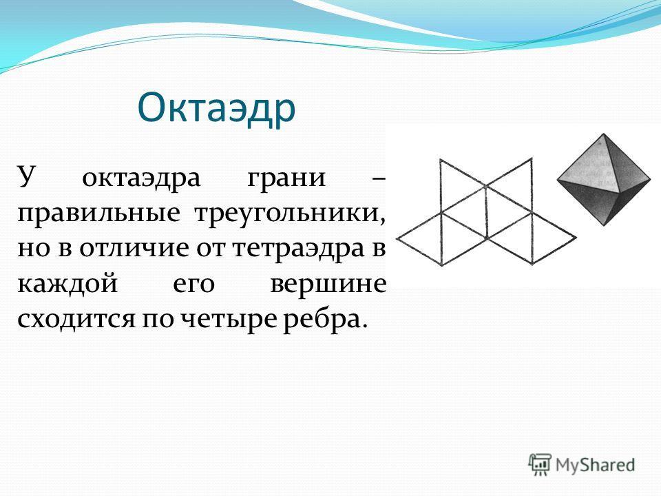 Октаэдр У октаэдра грани – правильные треугольники, но в отличие от тетраэдра в каждой его вершине сходится по четыре ребра.